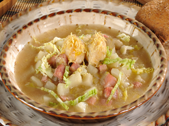 Nueske's Applewood Smoked Ham & Cabbage Soup with Cheddar Dumplings